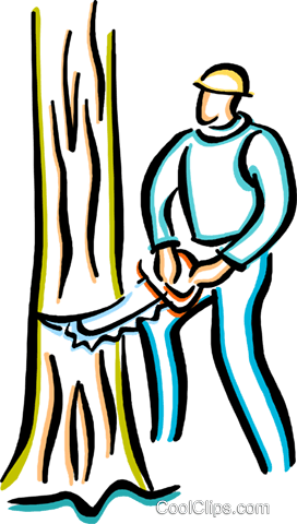man with chainsaw cutting down a tree Royalty Free Vector Clip Art illustration vc033647