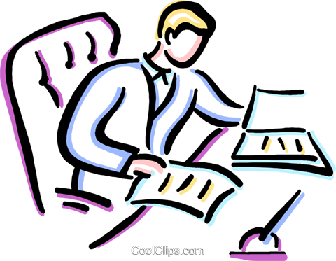 man doing paper work at his desk Royalty Free Vector Clip Art illustration vc033651