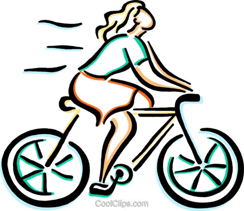 woman on her bike Royalty Free Vector Clip Art illustration vc033652
