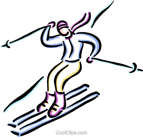person downhill skiing Royalty Free Vector Clip Art illustration vc033653