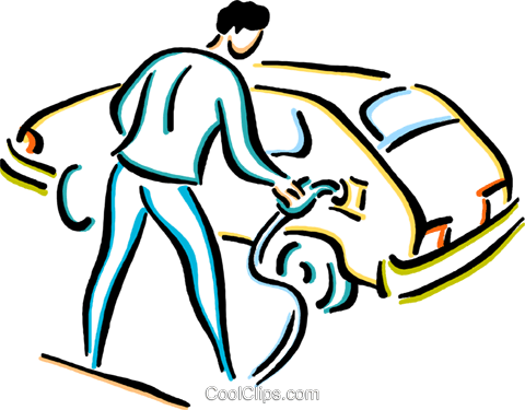 man putting gas in his car Royalty Free Vector Clip Art illustration vc033655