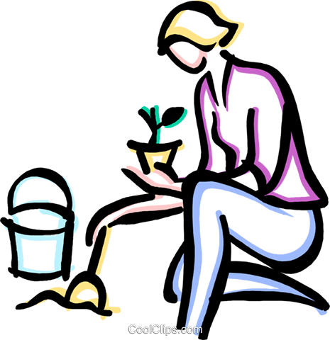 woman planting Royalty Free Vector Clip Art illustration vc033662
