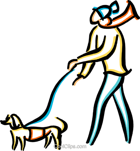 man walking a dog Royalty Free Vector Clip Art illustration vc033663