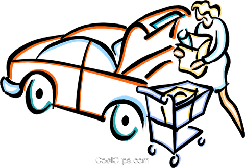 woman loading groceries into a cart Royalty Free Vector Clip Art illustration vc033673