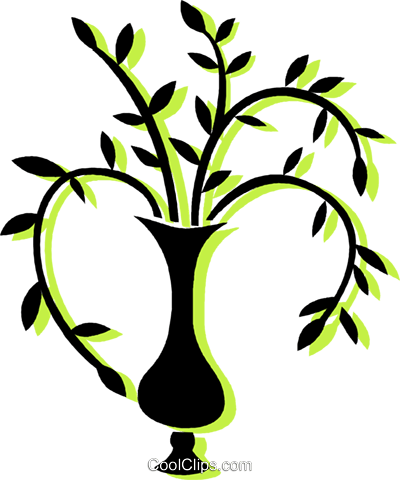 plant in a vase Royalty Free Vector Clip Art illustration vc033737