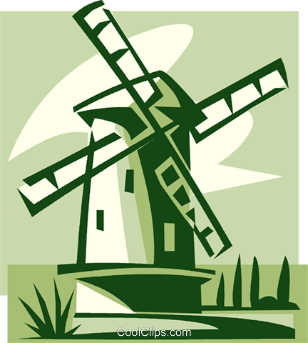 Dutch Windmill Royalty Free Vector Clip Art illustration vc033970