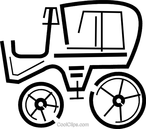 Antique or Vintage buggy Royalty Free Vector Clip Art illustration vc034386
