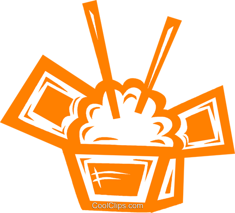 一盒米饭 免版税矢量剪贴画插图
