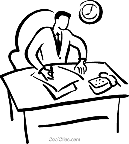 Office Worker Doing Paper Work Royalty Free Vector Clip Art