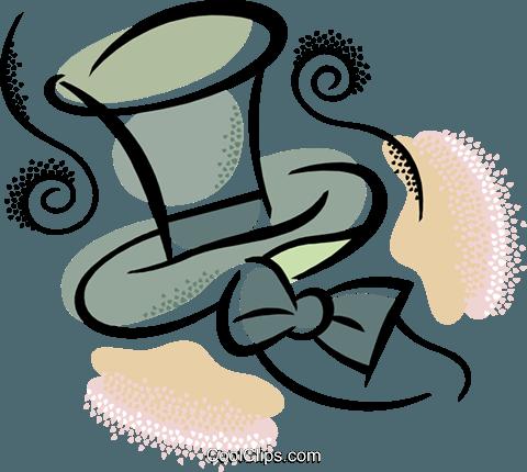 礼帽和领结 免版税矢量剪贴画插图