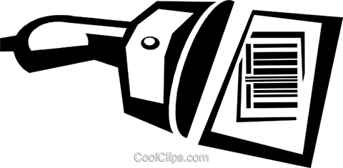 bar code and scanner Royalty Free Vector Clip Art illustration vc036703