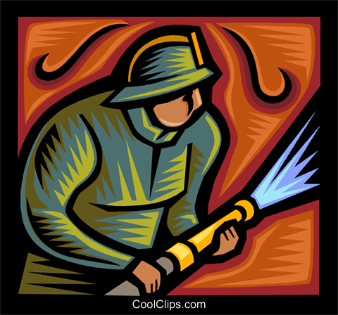 fireman fighting a blaze Royalty Free Vector Clip Art illustration vc037270