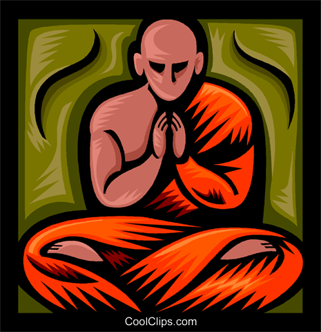Buddhist Monk Royalty Free Vector Clip Art illustration vc037278