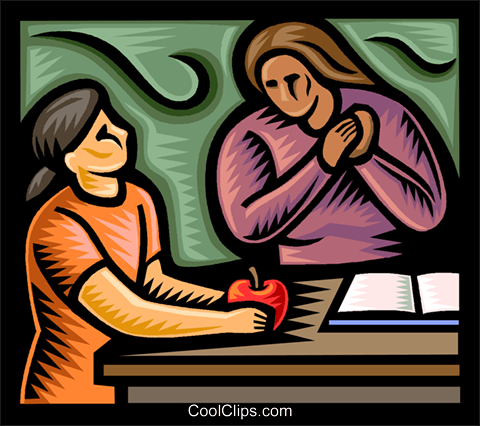 student giving a teacher an apple Royalty Free Vector Clip Art illustration vc037692