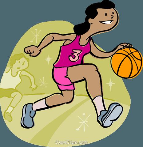 篮球运动员运球球 免版税矢量剪贴画插图