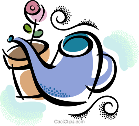 watering can with flower Royalty Free Vector Clip Art illustration vc038468