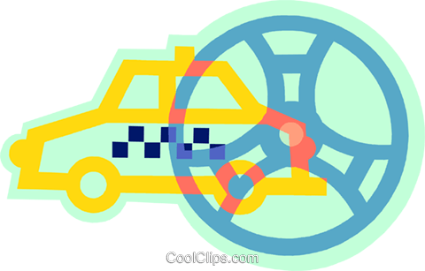 taxicab and steering wheel Royalty Free Vector Clip Art illustration vc038504