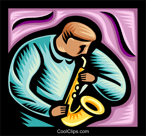 saxophone player Royalty Free Vector Clip Art illustration vc038541