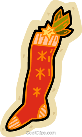 Christmas stocking Royalty Free Vector Clip Art illustration vc038707