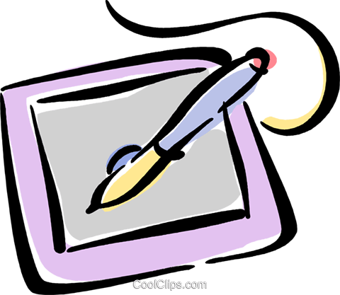 graphics tablet and computer pen Royalty Free Vector Clip Art illustration vc040193