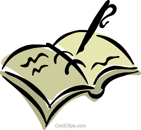 fountain pen with record book Royalty Free Vector Clip Art illustration vc040199