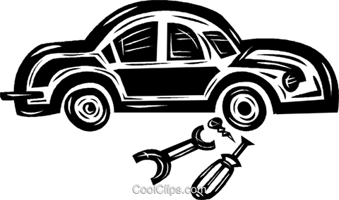 mechanical work on an automobile Royalty Free Vector Clip Art illustration vc040598