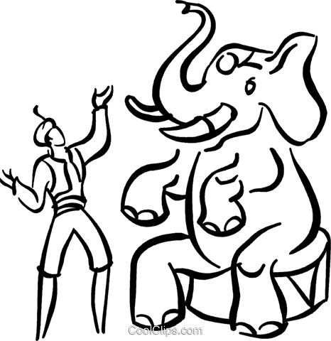 elephant circus act Royalty Free Vector Clip Art illustration vc040851