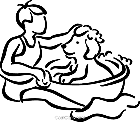 boy giving his dog a bath Royalty Free Vector Clip Art illustration vc040868
