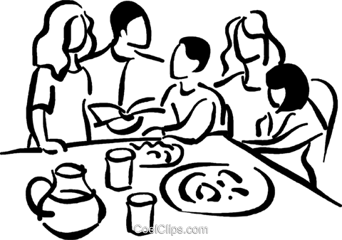Family At The Table Royalty Free Vector Clip Art Illustration