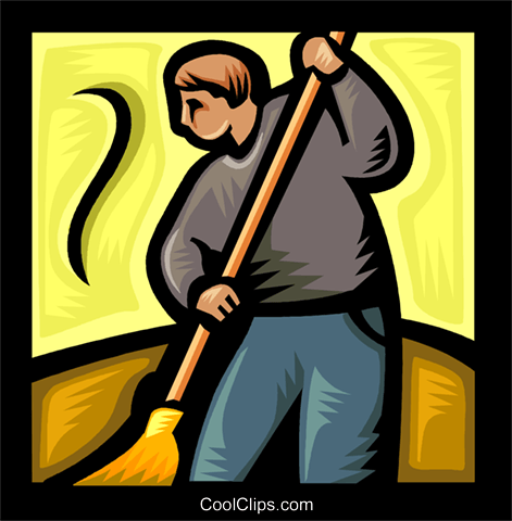 person sweeping Royalty Free Vector Clip Art illustration vc041769