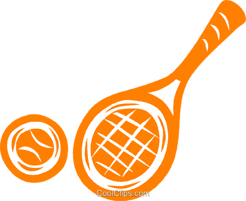 tennis racket and ball Royalty Free Vector Clip Art illustration vc041829