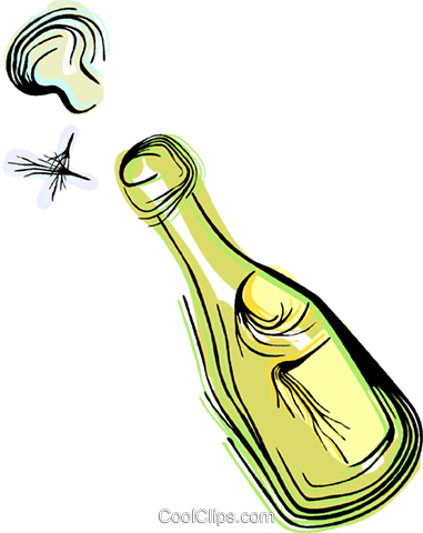 champagne bottle Royalty Free Vector Clip Art illustration vc044359