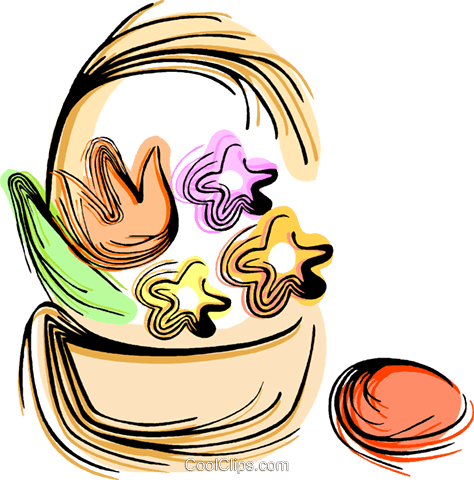 Easter basket with eggs Royalty Free Vector Clip Art illustration vc044383