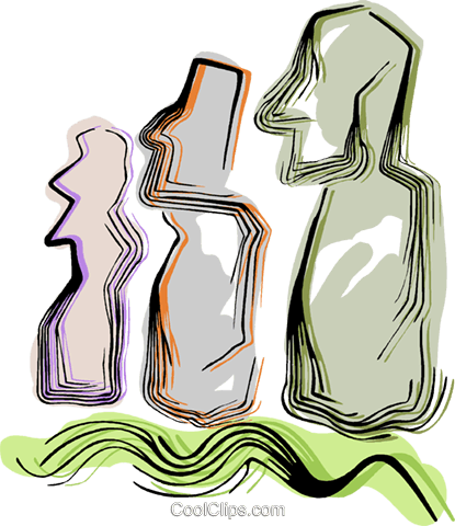 Easter Island statues Royalty Free Vector Clip Art illustration vc044391