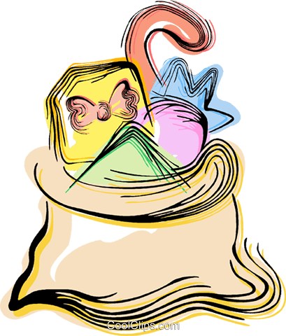 sack of toys Royalty Free Vector Clip Art illustration vc044397