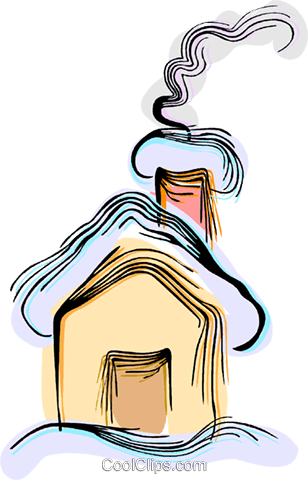 Snow covered house Royalty Free Vector Clip Art illustration vc044407