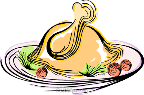 Roast turkey Royalty Free Vector Clip Art illustration vc044413