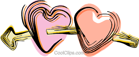 Arrow through hearts Royalty Free Vector Clip Art illustration vc044446