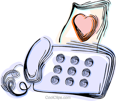 Love letter and fax machine Royalty Free Vector Clip Art illustration vc044447