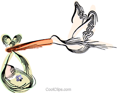 Stork delivering a baby Royalty Free Vector Clip Art illustration vc044449