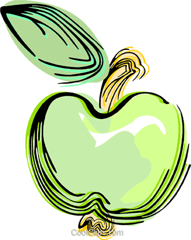Green apple Royalty Free Vector Clip Art illustration vc044470