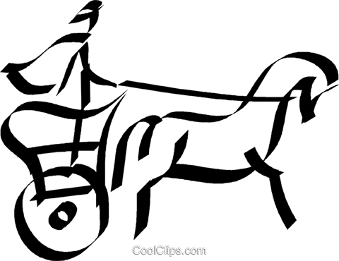 Roman Chariot Royalty Free Vector Clip Art illustration vc044588