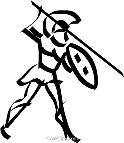 soldier with a spear Royalty Free Vector Clip Art illustration vc044600