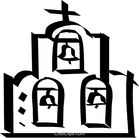 Church with bells Royalty Free Vector Clip Art illustration vc044607