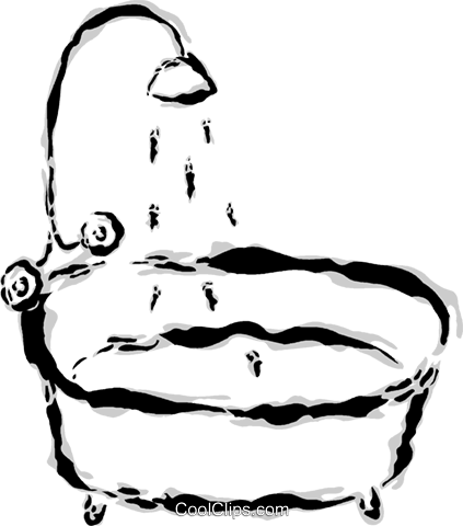 bathtub with shower Royalty Free Vector Clip Art illustration vc044642