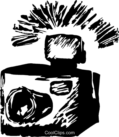 camera with a flash Royalty Free Vector Clip Art illustration vc044207