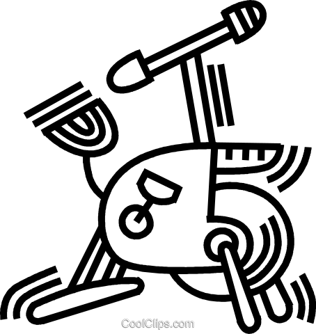 stationary bike Royalty Free Vector Clip Art illustration vc045060