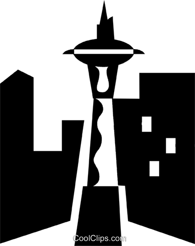space needle seattle royalty free vector clip art illustration