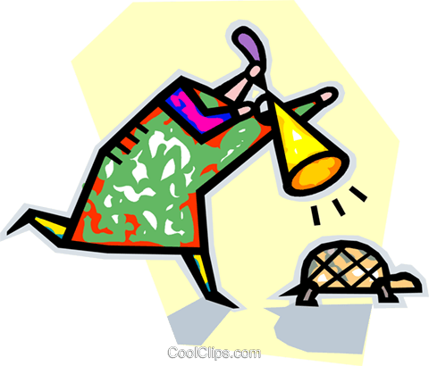 person encouraging a turtle Royalty Free Vector Clip Art illustration vc042824