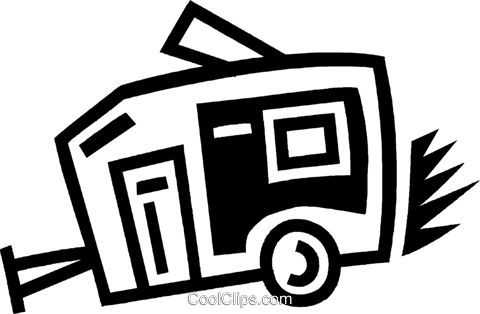 camping trailer Royalty Free Vector Clip Art illustration vc043453